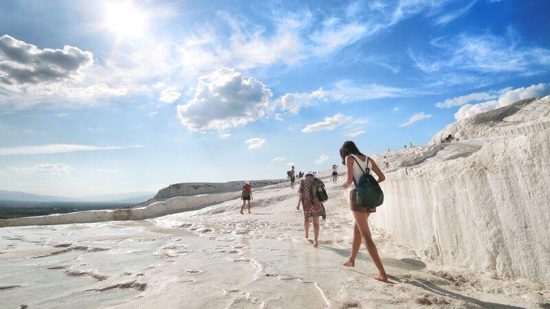 Traveller exploring Pamukkale.