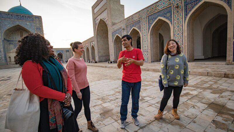 Travellers in Bukhara, Uzbekistan