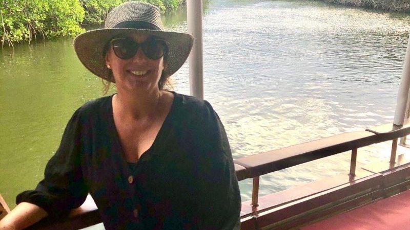Traveller on a river boat