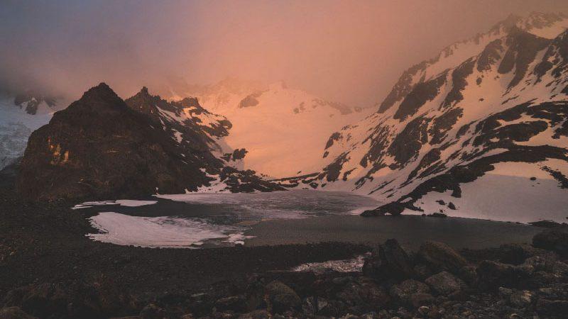 Mountain ranges at dusk