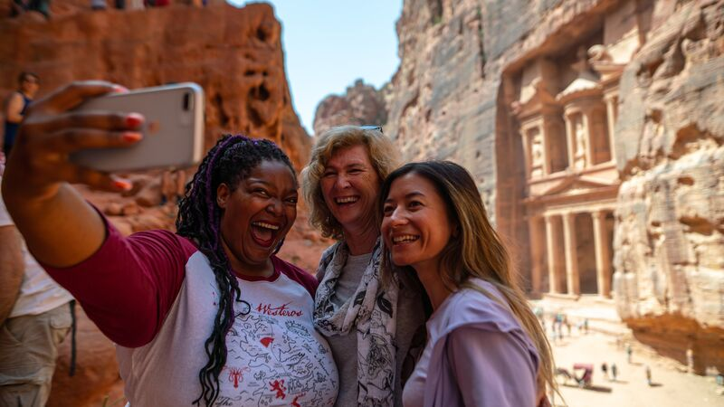 Travellers at Petra.