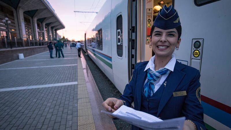 Train conductor in Samarkand.
