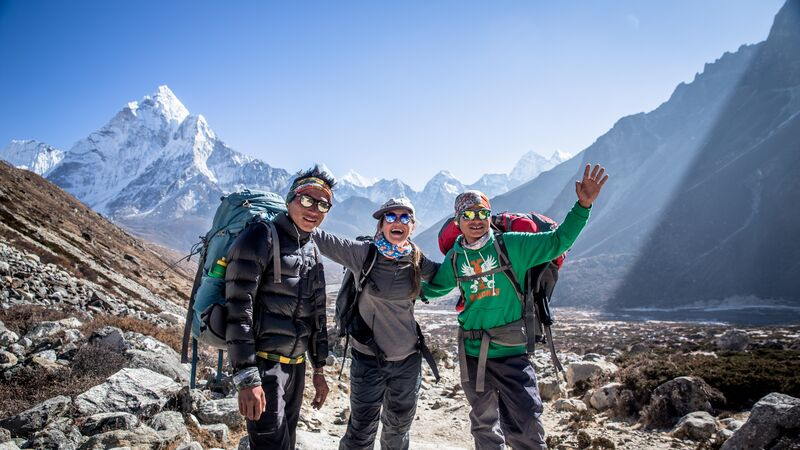 Travellers at Everest Base Camp