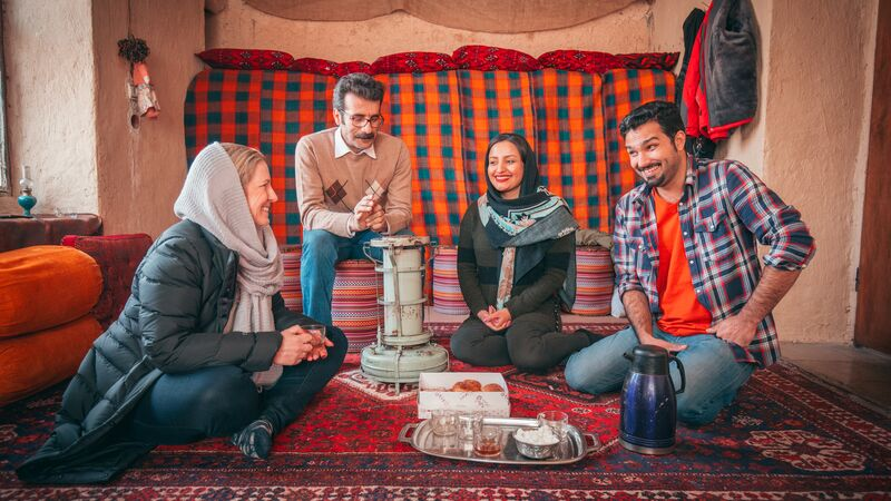 Travellers with Iranian family.