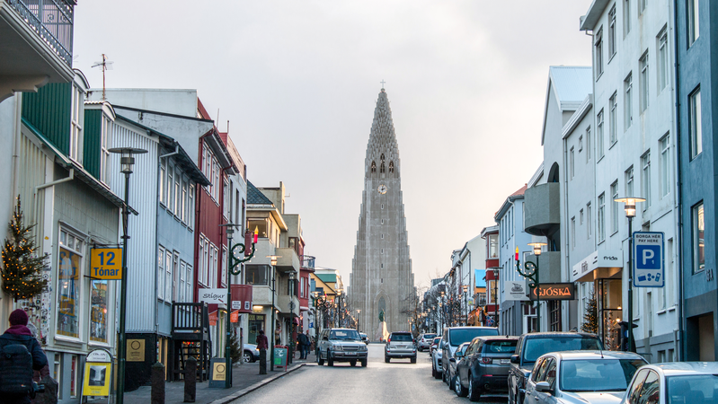 Street in Reykjavik, the capital city of Iceland.