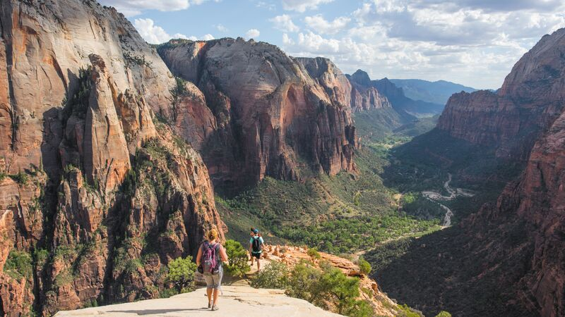 Hikers on the trail to Observation Point in Zion National Park