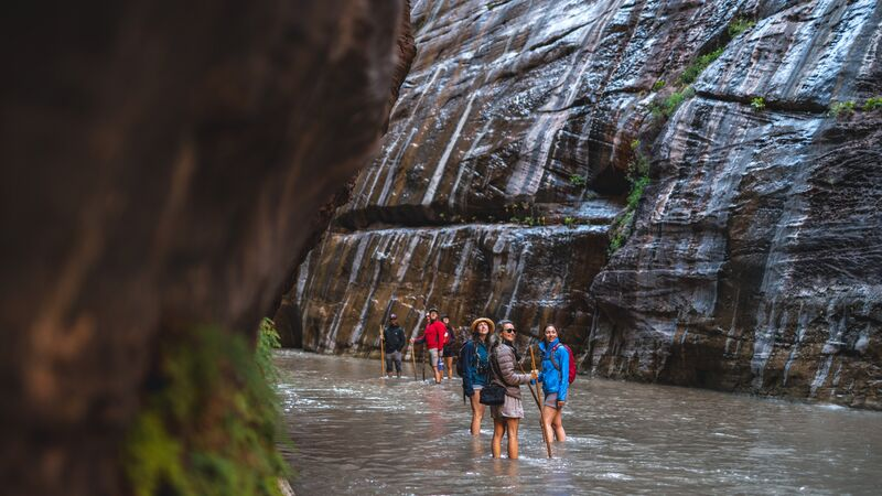 Hikers enjoying the Narrows trail on an Intrepid Travel tour