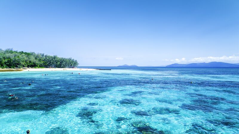 People snorkeling in the Great Barrier Reef, Australia.