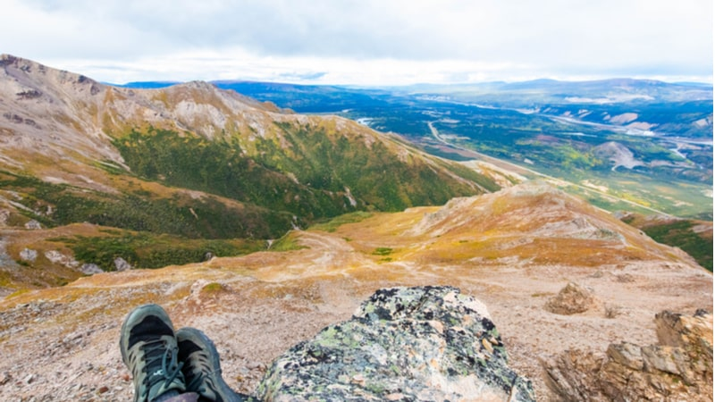 A hiker on the Mount Healy Overlook