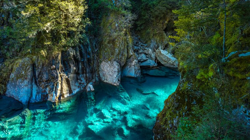 The blue pools at Haast Pass in Wanaka.