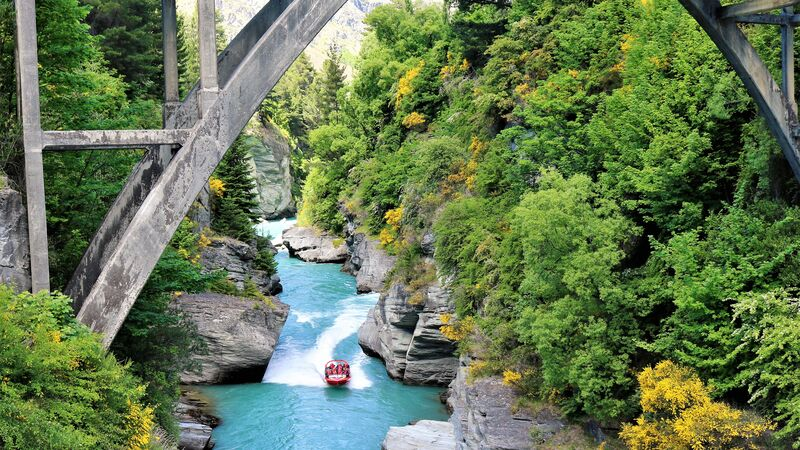 A jet boat ride on the Shotover River in Queenstown.