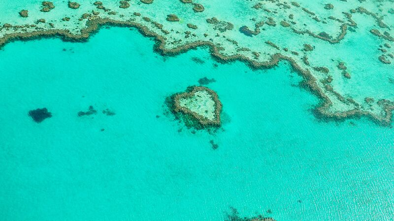 An aerial view of Heart Reef from a scenic flight