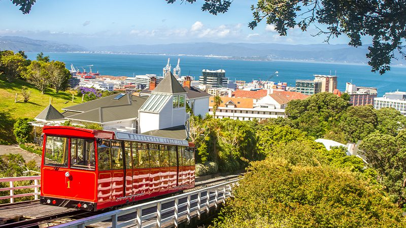 The cable car on a sunny day in Wellington.