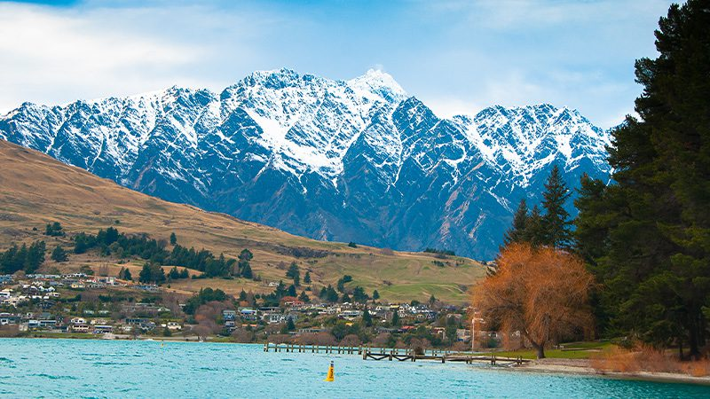 Snow-capped Remarkables Mountain Range in Queenstown