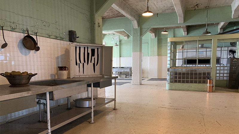 The kitchens inside Alcatraz.