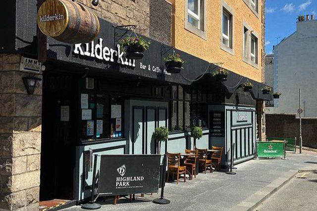 Outside Kilderkin Bar in Edinburgh