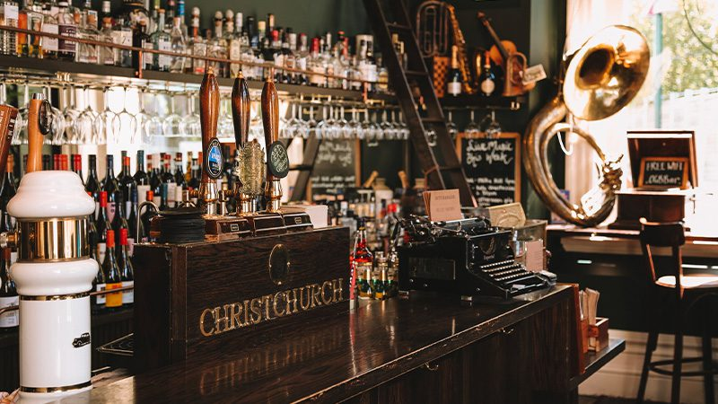 The old-school bar at O.G.B's in Christchurch.