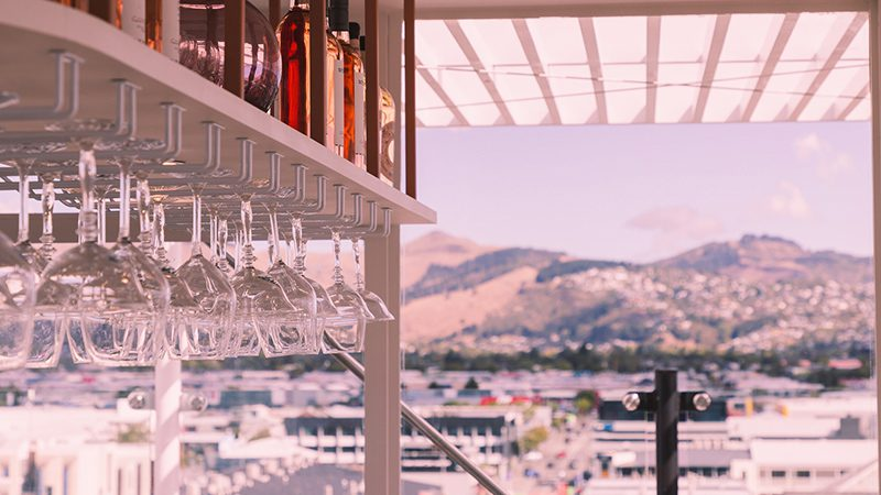 The Pink Lady's rooftop area with Christchurch's Mountain Ranges in the distance.