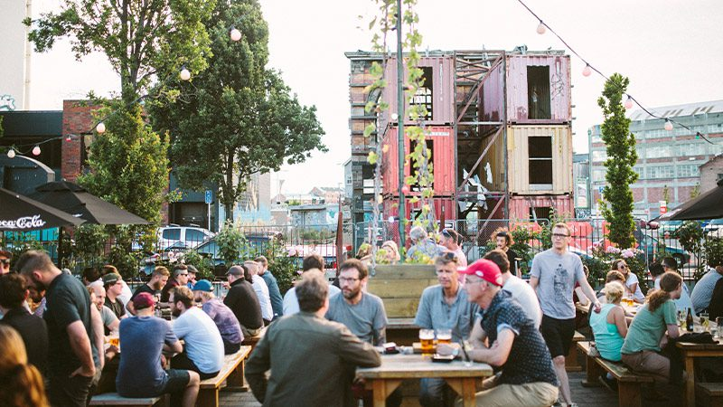 The outdoor seating area at Smash Palace in Christchurch.