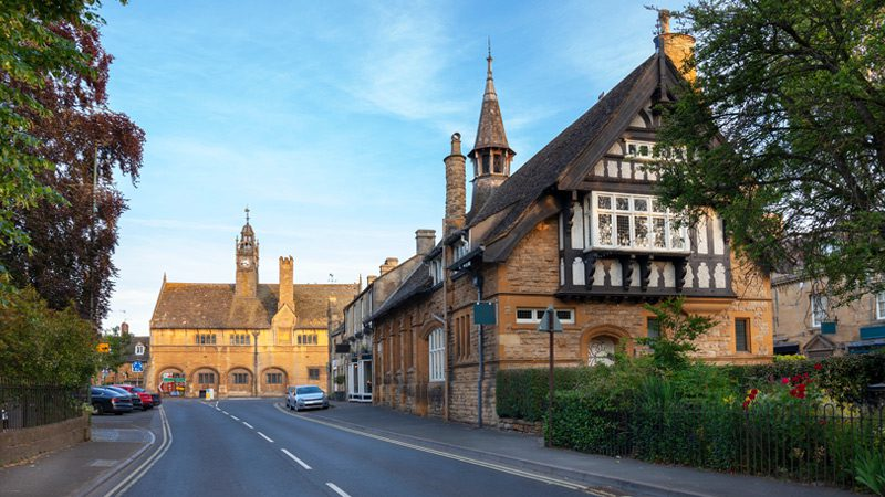A street in the historic and charming village of Moreton-in-Marsh in the Cotswolds.
