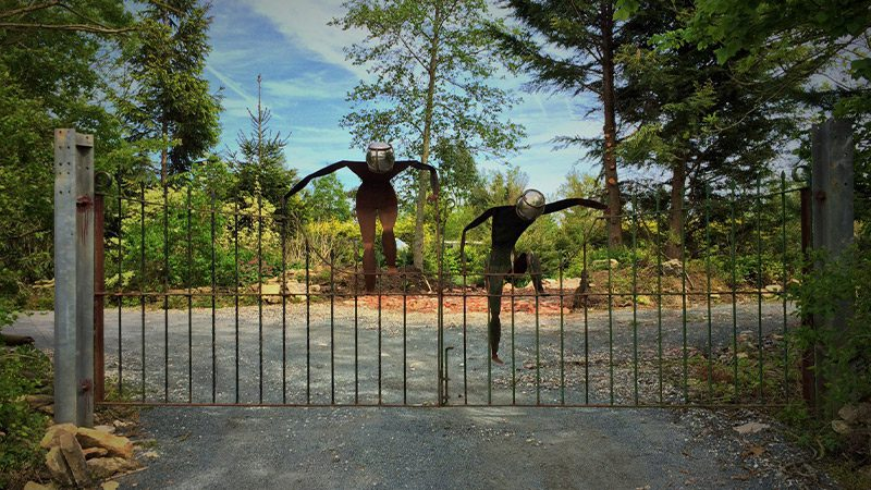 The gates to the Sculpture Park in the Cotswolds.