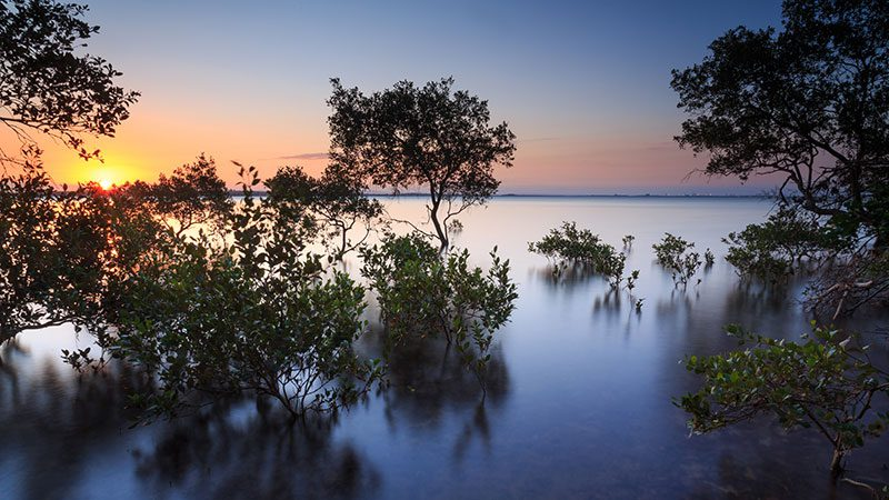A view of Moreton Bay from Wellington Point in Brisbane at sunset.