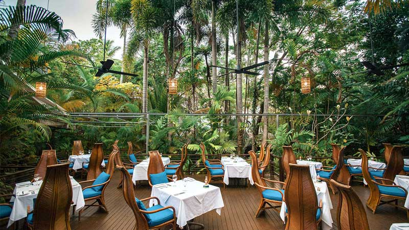 Outdoor dining area at Nautilus restaurant in Port Douglas.