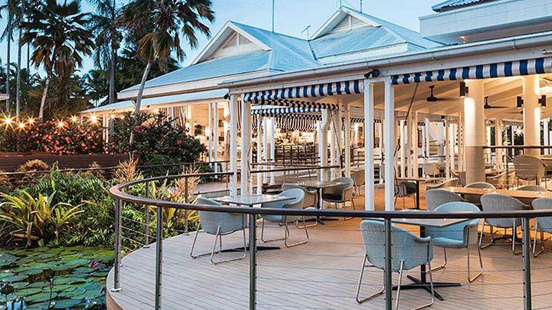 The stunning indoor/outdoor dining room at Oak and Vine restaurant in Port Douglas.