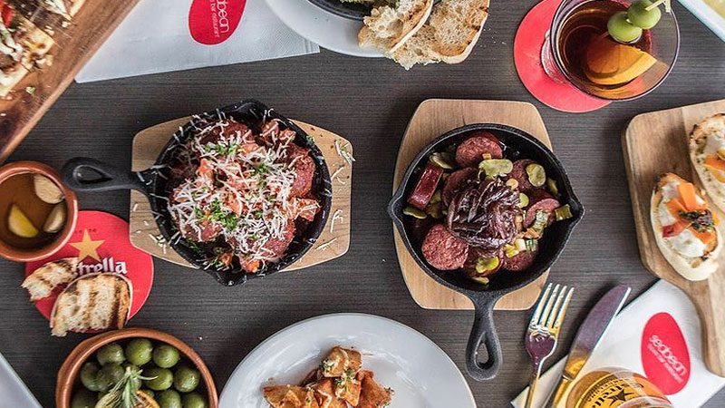 A birds eye view of a selection of tapas available at Seabean restaurant in Port Douglas.