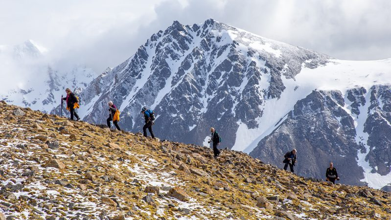 Group hiking in the Arctic