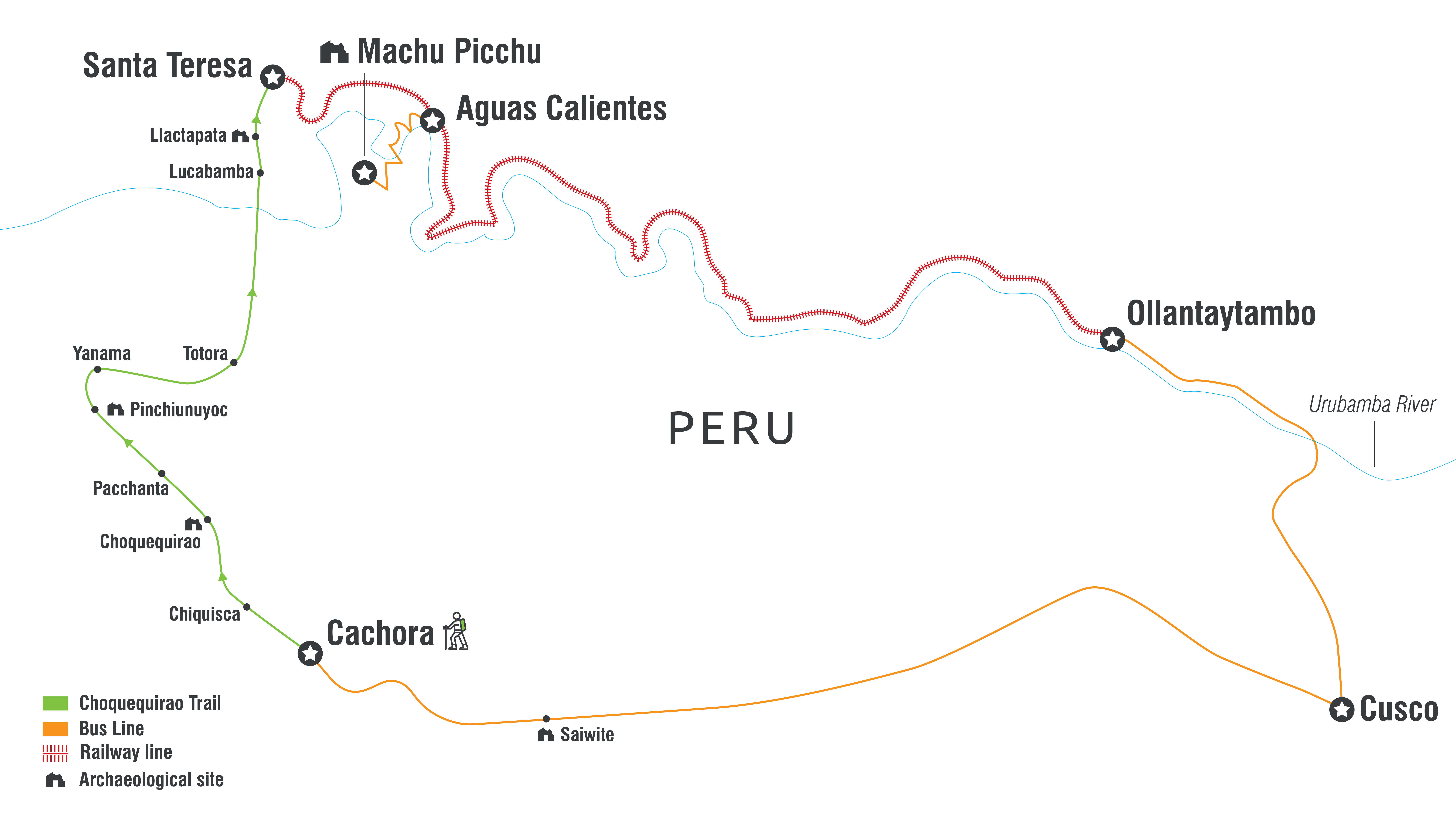 Choquequirao trail map including Machu Picchu