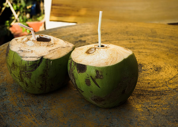 Fresh coconut drink in Cambodia
