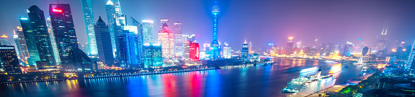 Glowing lights of Shanghai at night