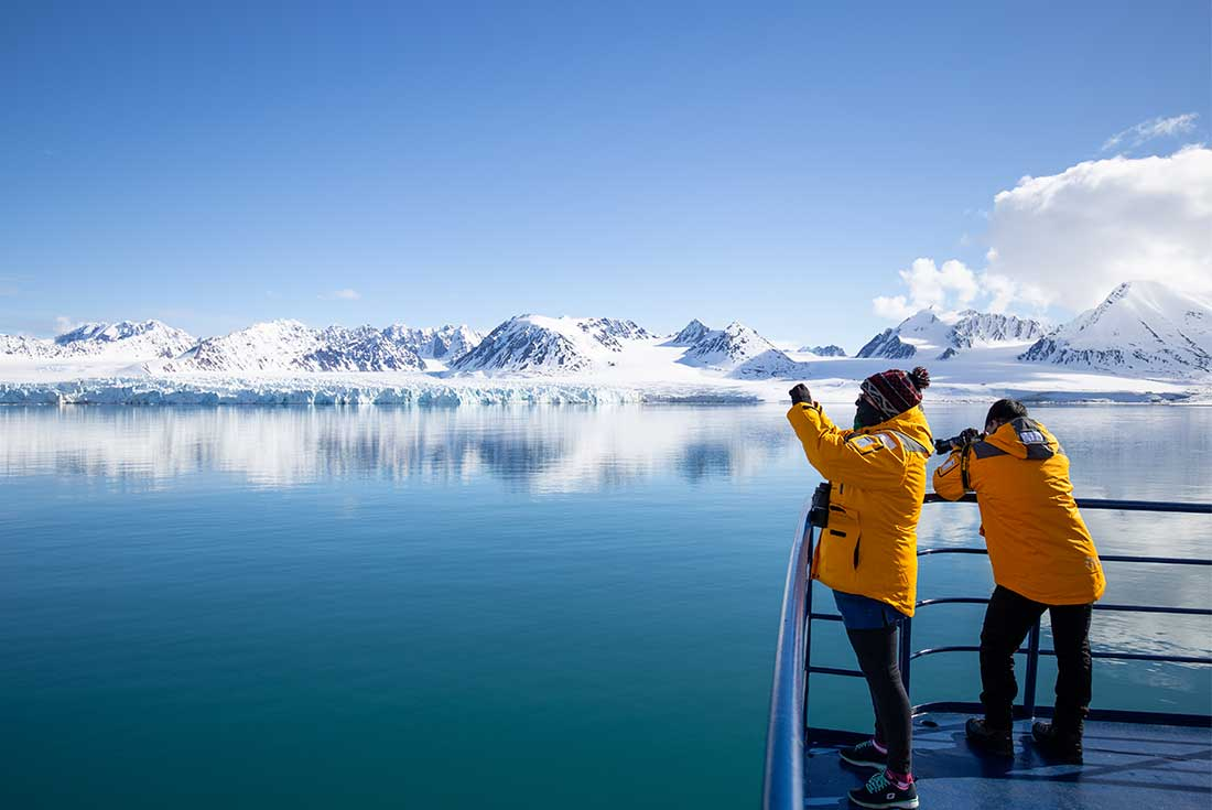 Travellers on board the expedition ship during an Intrepid tour in the Arctic