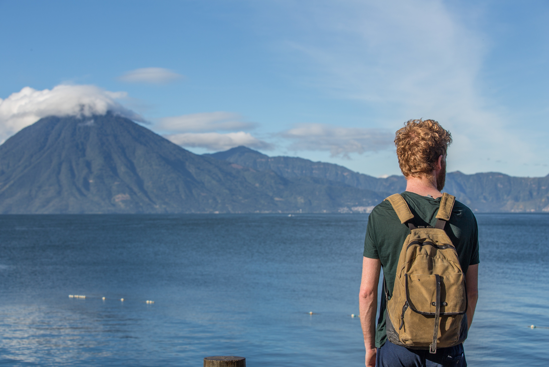 Man looking out across Lake Atitlan