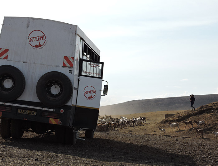 Intrepid Overland truck in Tanzania
