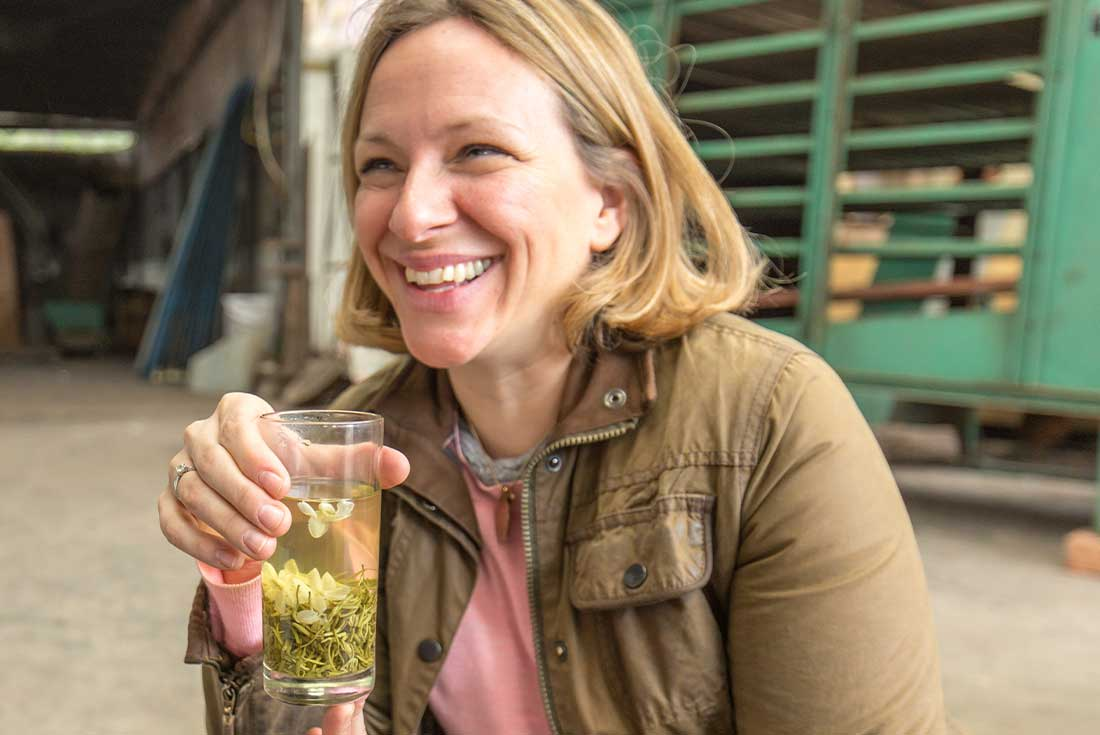 Traveller drinks Chrysanthemum tea in China