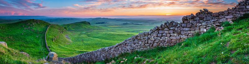 beautiful landscape of Hadrian's Wall in Northumberland, England