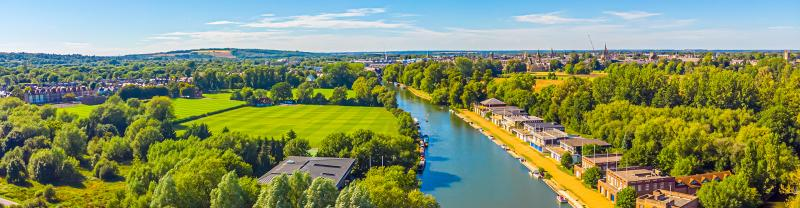Aerial view of the River Thames in Oxford, England