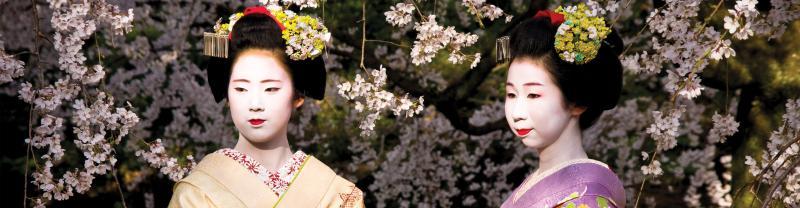 Japan, Kyoto, Maiko san Imperial gardens