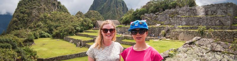 Two travellers at Machu Picchu, Peru