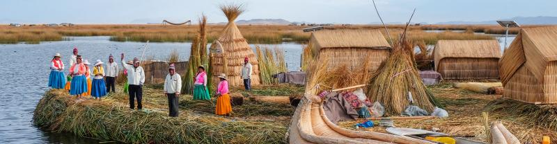 GGPPC - Islands welcoming travellers to the Floating islands, Lake Titicaca, Peru
