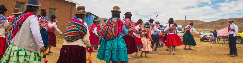 Traditional Peruvian dancing ceremony, Kusimayo, Puno, Peru