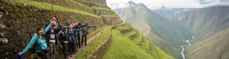Group trek along Inca Trail, Peru