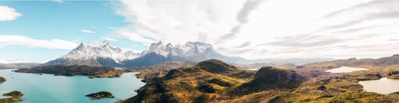 Panorama of the mountains in Torres del Paine National Park, Chile