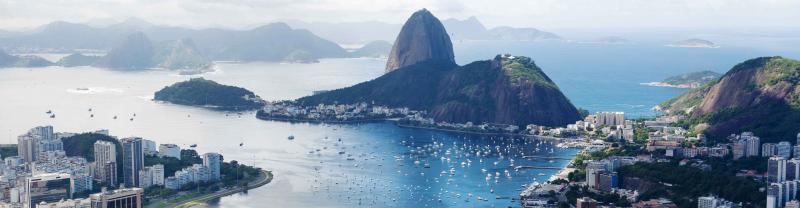 View in Rio De Janeiro over mountains and city harbour