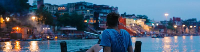 India, Varanasi, Dusk, Boat