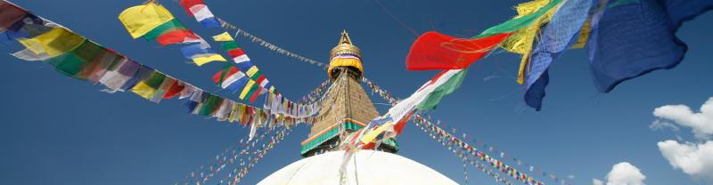 HNPN - View of colourful Buddhist Temple Flags in Kathmandu, Nepal