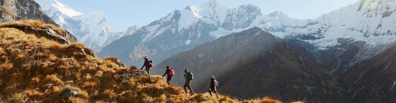 Travellers hiking in Annapurna, Nepal