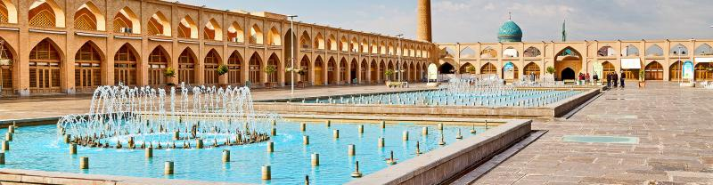 Fountains and mosques in Imam Square, Esfahan, Iran